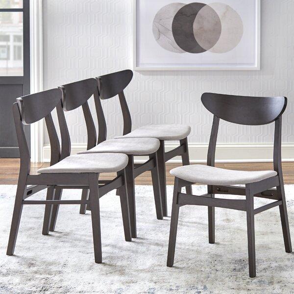 Azevedo Solid Wood Side Chair in Espresso/Beige (Set of 4) by Corrigan Studio Corrigan Studio
