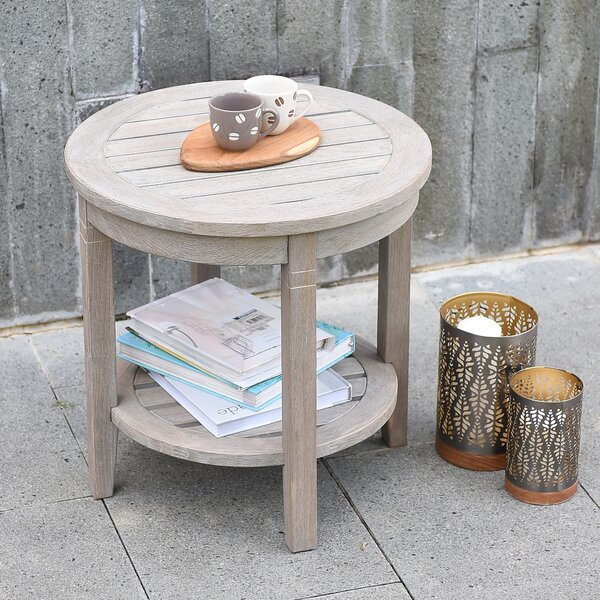 Sheffield Teak Round Side Table by Bayou Breeze
