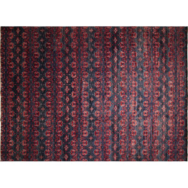 One-of-a-Kind Lona Hand-Knotted Wool Blue/Red Area Rug by Isabelline