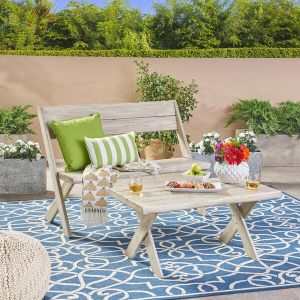 Eltingville Outdoor Acacia Wood Loveseat and Coffee Table Set by Millwood Pines