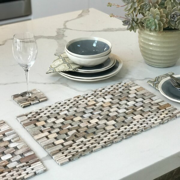 Recycled Teak Placemats Set (Set of 2) by Hip-O Mo