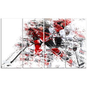 Hockey Break Away 4 Piece Graphic Art on Wrapped Canvas Set by Design Art