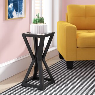West Brookfield Stand Wooden Geometric Base and Glass Top End Table by Wrought Studio SKU:CB341199 Check Price