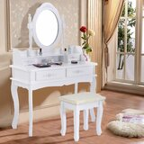 Retford Makeup Vanity Set with Stool and Mirror by One Allium Way