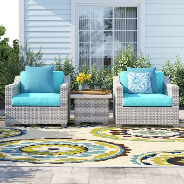 Falmouth 3 Piece Rattan Seating Group with Cushions by Sol 72 Outdoor