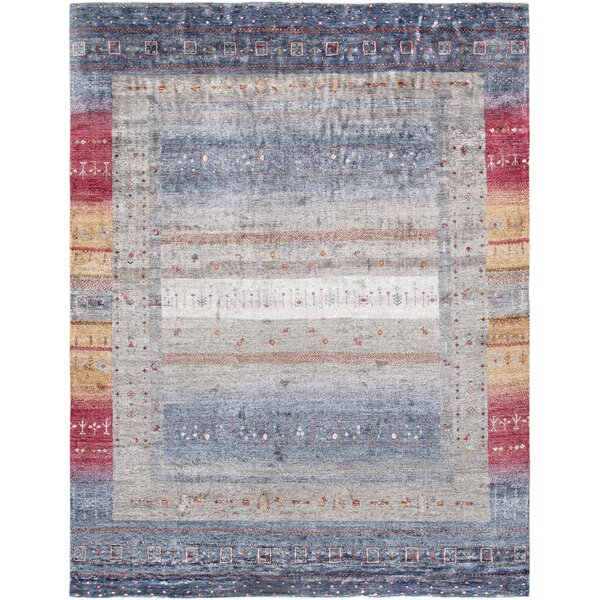 Gabbeh Hand Knotted Silk Blue/Gray Area Rug by Pasargad