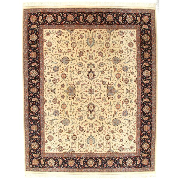 Tabriz Hand-Knotted Wool Ivory Area Rug by Pasargad NY