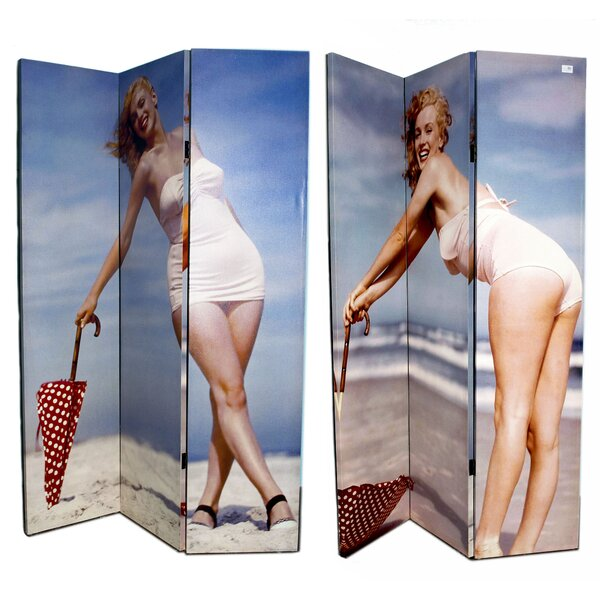 Henslee Marilyn Monroe by the Beach 3 Panel Room Divider by Winston Porter