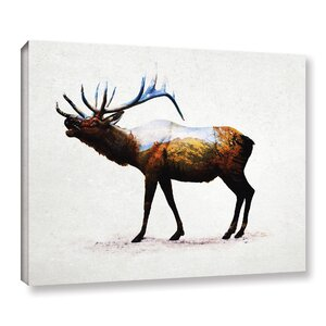 Rocky Mountain Elk Graphic Art on Wrapped Canvas by Loon Peak