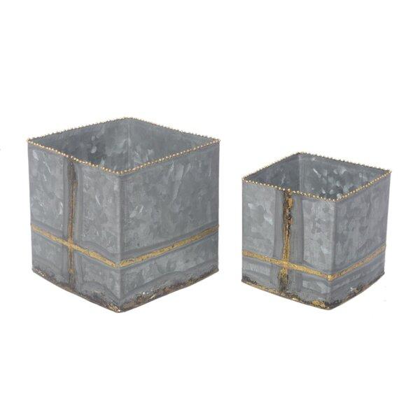 Galvanized Iron 2 Piece Planter Box Set by BIDKhome