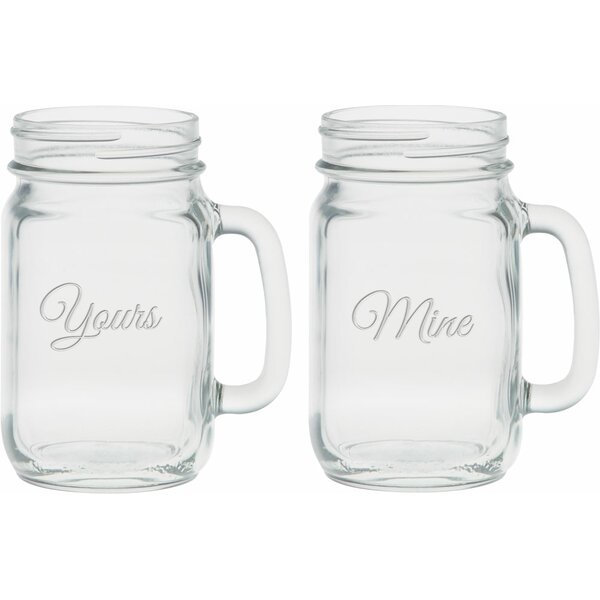 Lindon Deep Etched 16 Oz. Handle Jar Glasses (Set of 2) by Winston Porter