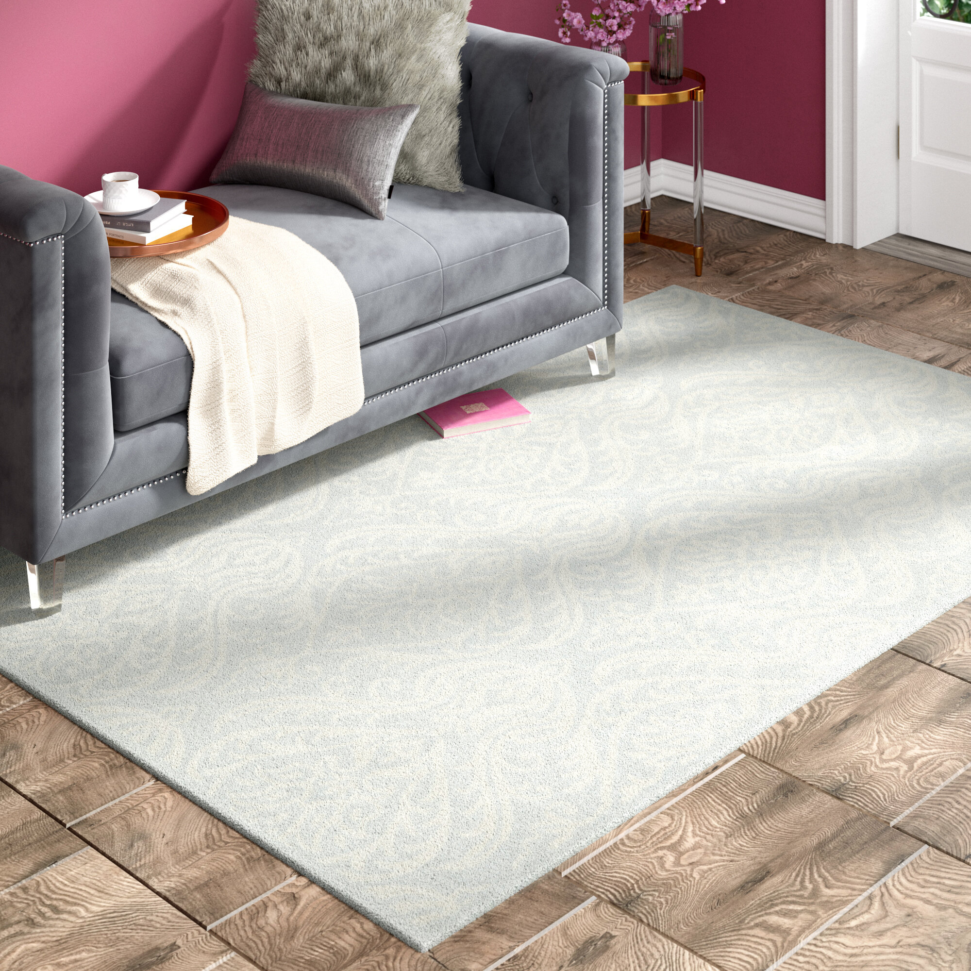 Willa Arlo Interiors Mcguire Hand Tufted Wool Silver Ivory Area Rug