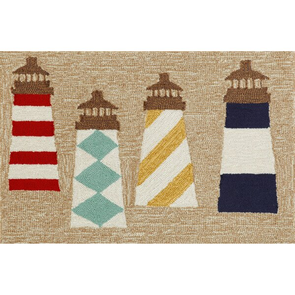 Walton Lighthouses Hand-Tufted Brown Indoor/Outdoor Area Rug by Breakwater Bay