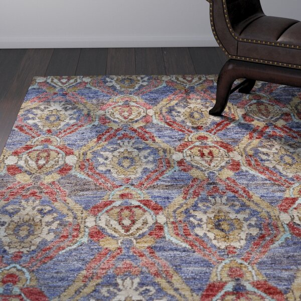 Arron Hand-Knotted Navy/Red Area Rug by Bloomsbury Market