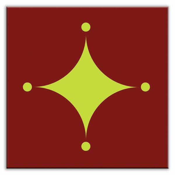 Folksy Love 6 x 6 Satin Decorative Tile in A-boo Green-Burgundy by Oscar & Izzy
