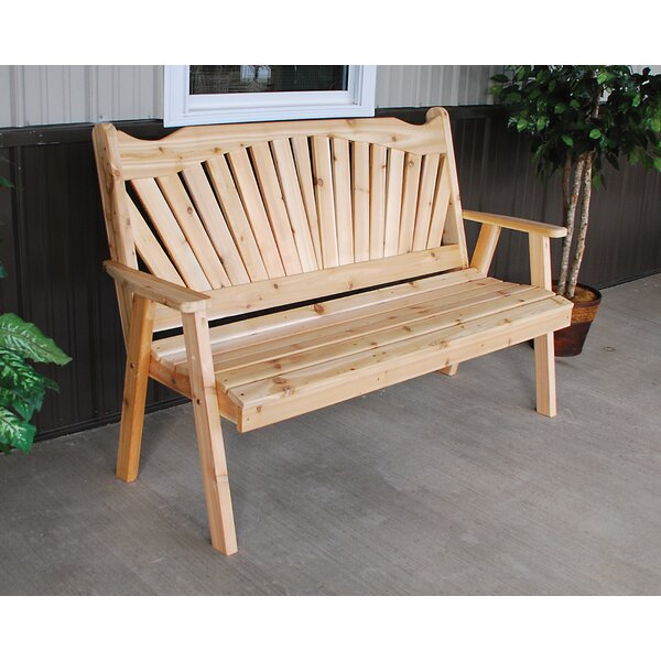 Fanback Wood Garden Bench by A&L Furniture