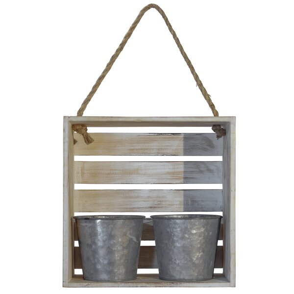 Ophiuchus Hanging Wood Wall Planter with 2 Buckets (Set of 2) by One Allium Way