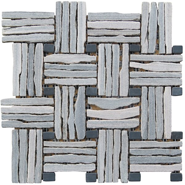 Landscape Wonder 12.5 x 12.5 Quartzite Basketweave Natural Stone Blend Mosaic Tile in Unpolished Two-tone Gray by Intrend Tile