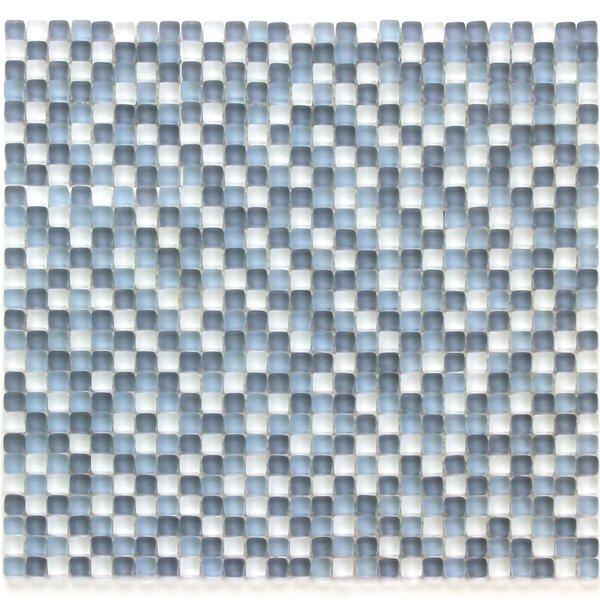 Atlantis 0.25 x 0.25 Glass Mosaic Tile in Blue/White by Solistone