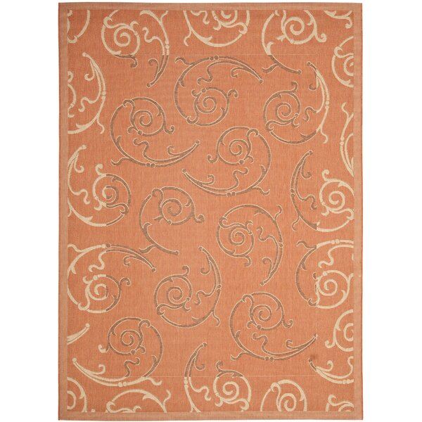 Octavius Terracotta/Cream Indoor/Outdoor Rug by Charlton Home