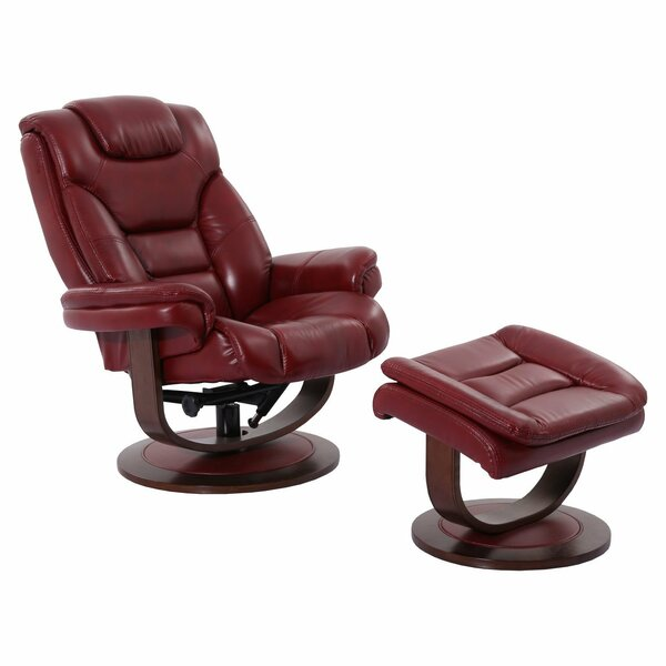 Canella Leather Manual Swivel Recliner With Ottoman By Brayden Studio