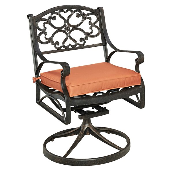 Ayleen Swivel Patio Dining Chair with Cushion by August Grove