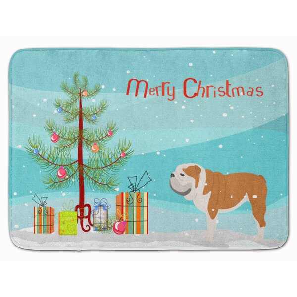 English Bulldog Merry Christmas Tree Rectangle Microfiber Non-Slip Bath Rug