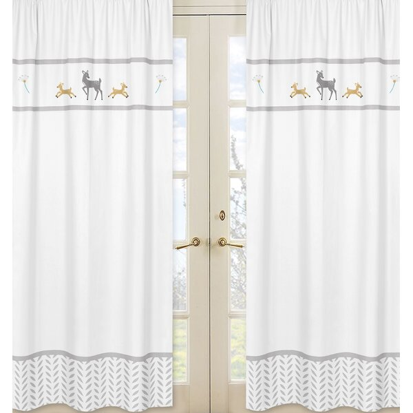 Forest Deer Wildlife Semi-Sheer Rod pocket Curtain Panels (Set of 2) by Sweet Jojo Designs