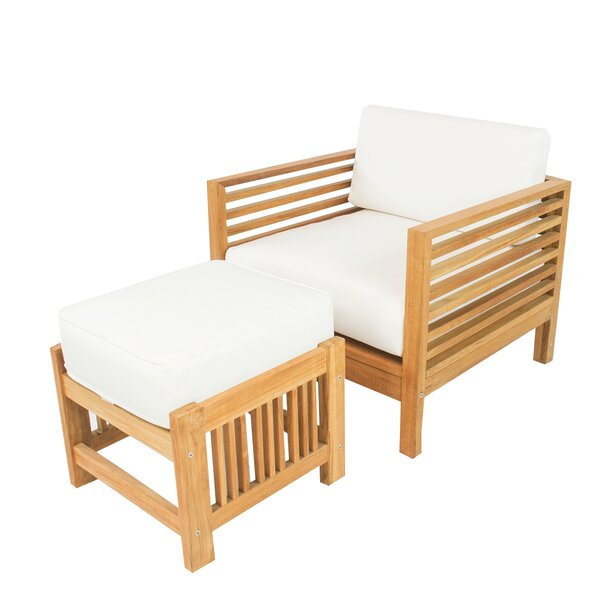 Crigler Teak Patio Chair with Sunbrella Cushions by Rosecliff Heights