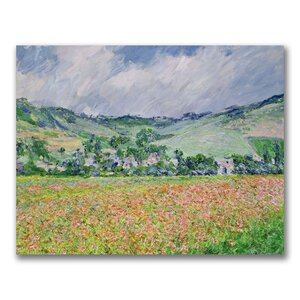 The Poppy Field near Giverny by Claude Monet Painting Print on Wrapped Canvas by Trademark Fine Art