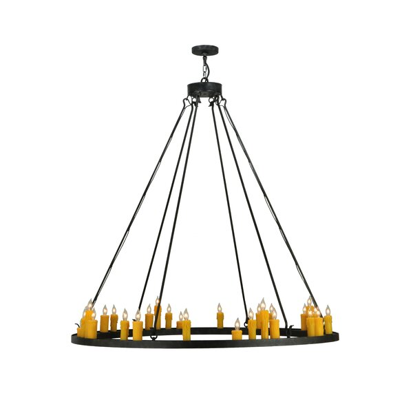 Manseau 28 - Light Candle Style Wagon Wheel Chandelier by Foundry Select Foundry Select