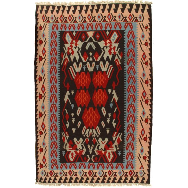 Doane Kilim Vintage Hand Knotted Wool Brown/Ivory Area Rug