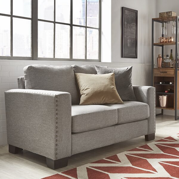 Blackston Nailhead Trim Loveseat by Mercury Row