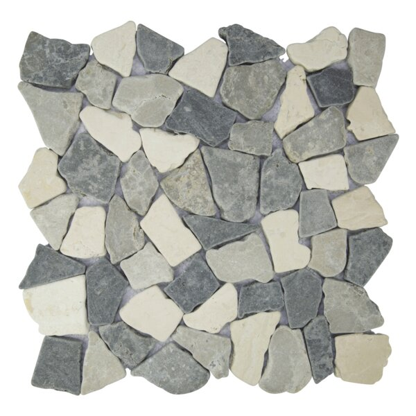 Fit Random Sized Natural Stone Pebble Tile in Sterling/Gray by Pebble Tile