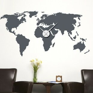 Travel wall decals youll love wayfair world map wall clock wall decal gumiabroncs Images