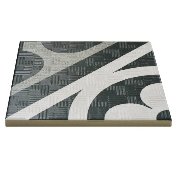 Region 6 x 6 Porcelain Field Tile in Black/White by EliteTile