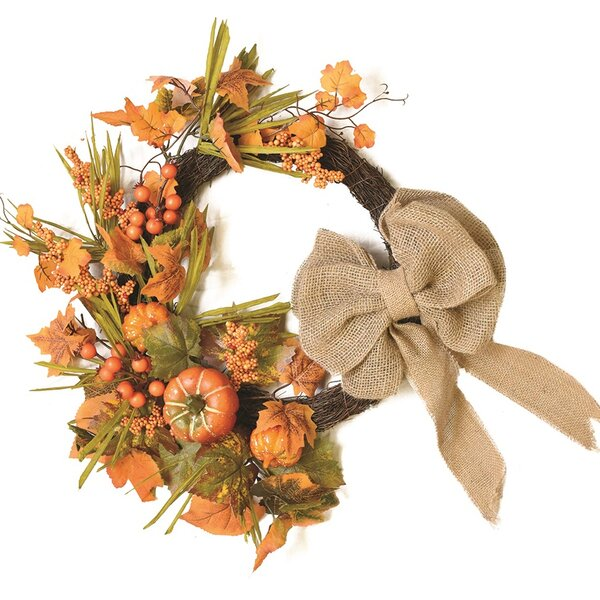 Autumn Harvest 20 Artificial Pumpkins, Berries and Leaves Wreath by Northlight Seasonal