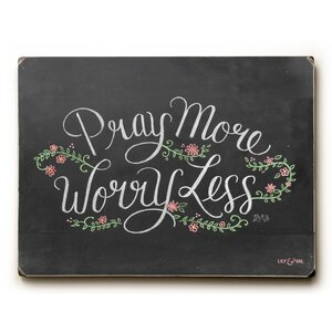 'Pray More, Worry Less' Rectangle Textual Art on Wood by Laurel Foundry Modern Farmhouse