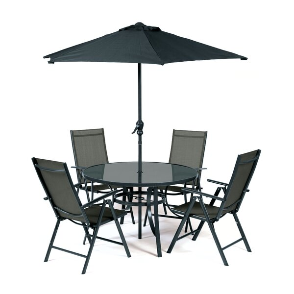 Ubon 5 Piece Dining Set with Umbrella by Red Barrel Studio