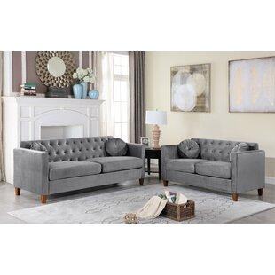 Persaud Velvet Classic Chesterfield Living Room Set by Mercer41