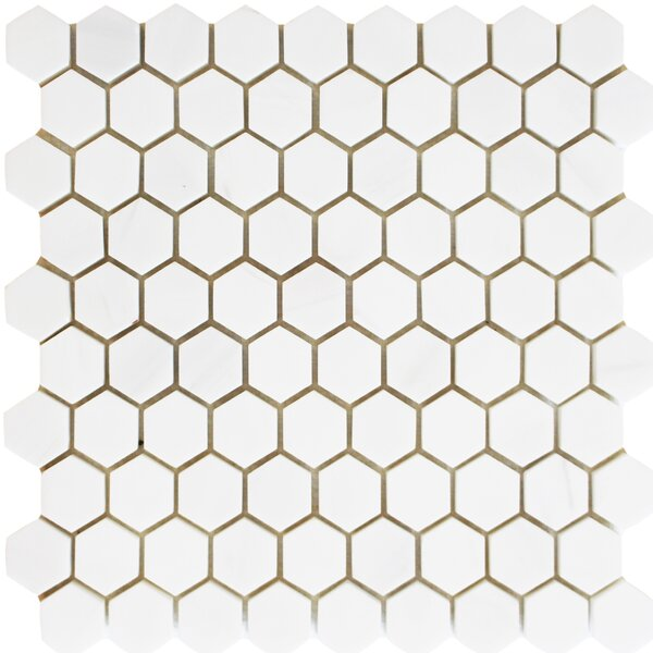 1.25 x 1.25 Mosaic Tile in Bianco Dolomite by Ephesus Stones