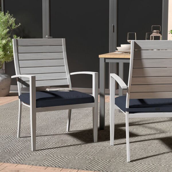 Yohan Stacking Patio Dining Chair With Cushion (Set Of 6) By Wade Logan by Wade Logan #1