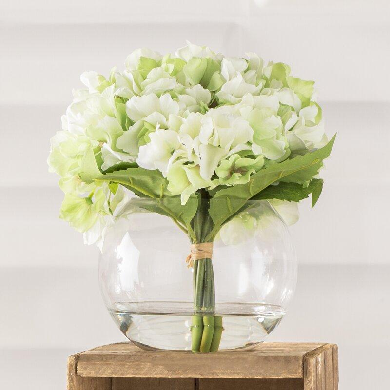 Hydrangea Arrangement In Glass Vase Reviews Birch Lane