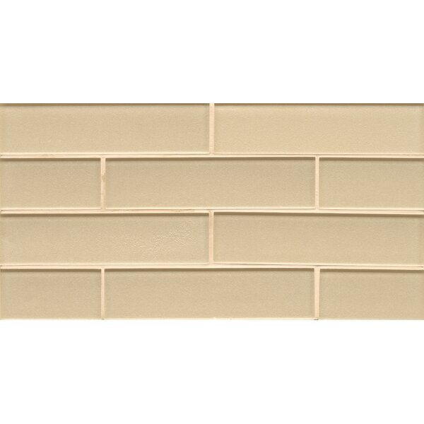 Remy Glass 8 x 16 Glass Mosaic 2x8 Gloss Mesh Mount Tile in Blonde by Grayson Martin