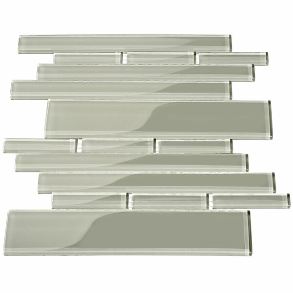 Club Random Sized Glass Mosaic Tile in Light Gray by Giorbello