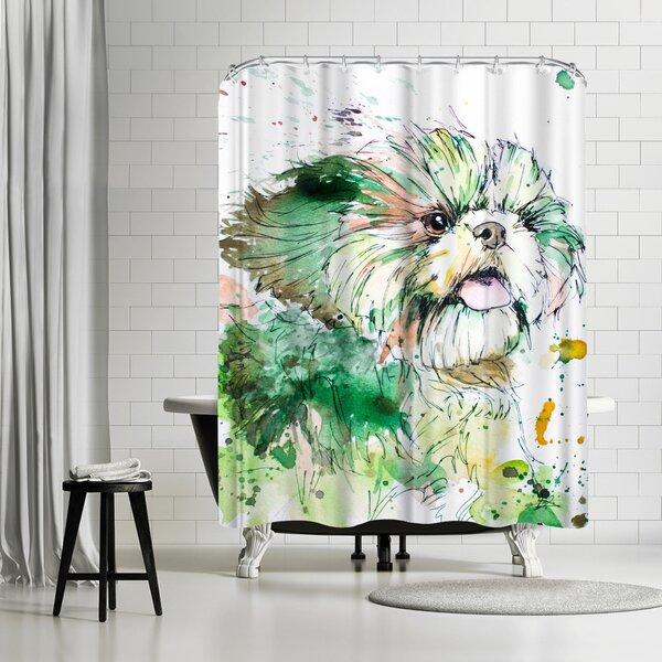 Allison Gray Shih Tzu Shower Curtain by East Urban Home