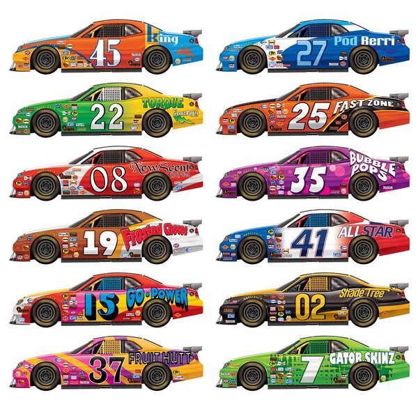 Marko Race Car 12 Piece Wall Decal Set by The Holiday Aisle