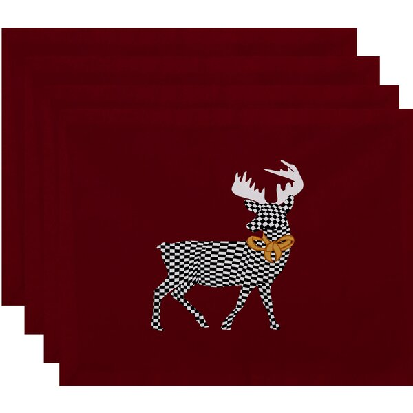 Christmass Merry Deer Placemat (Set of 4) by Loon Peak