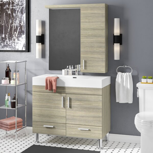 Waldwick 36 Single Modern Bathroom Vanity Set with Mirror by Wade Logan