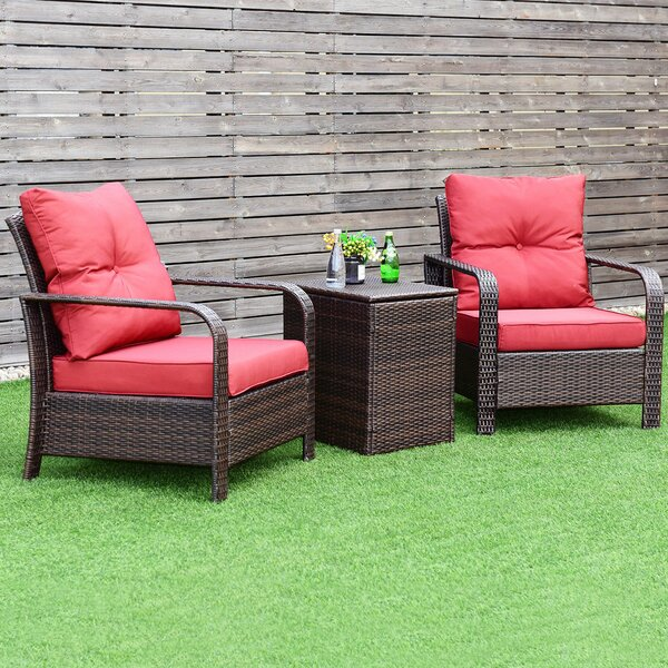 Leddy 3 Piece Rattan with Cushions by Ebern Designs